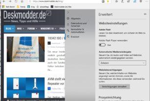 Microsoft Edge hatte eine Flash Whiteliste im Browser