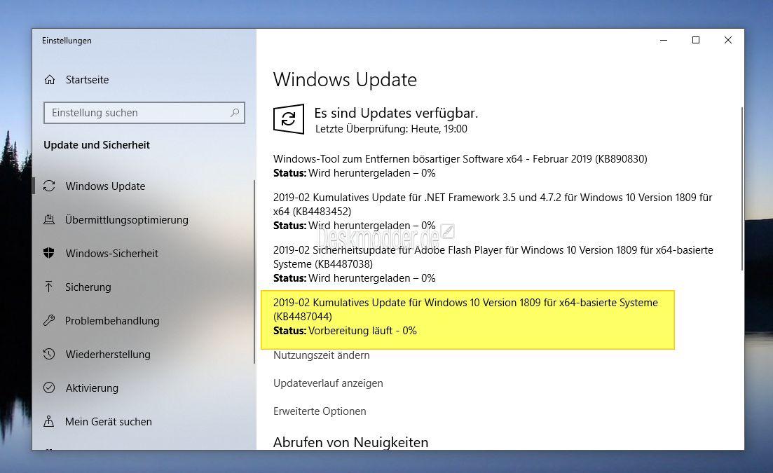 KB4487044 Windows 10 1809 17763 316 (Manueller Download