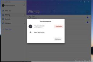 Microsoft To-Do 1.5.1 jetzt mit Konten verwalten / Konto hinzufügen – Jetzt für alle