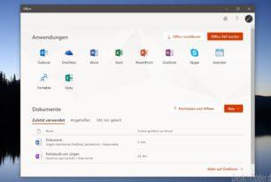 Neue Office App startet mit Umschalt + Strg + Win + Alt