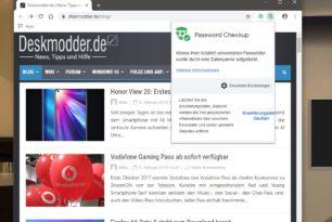 Password Checkup Google Chrome Erweiterung die kompromittierte Passwörter anzeigt