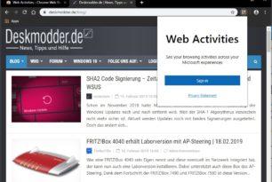 Web Activities – Erweiterung für die Windows 10 Zeitleiste für Google Chrome, Vivaldi und Opera (Chromium)
