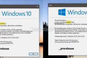 Hinweis: Windows 10 Insider zeigt in winver 1903 an, obwohl Windows 10 20H1 installiert ist