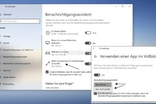 Benachrichtigungen und Banner deaktivieren auch bei Programmen im Vollbildmodus – Windows 10