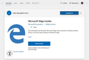 Microsoft Edge Insider als Erweiterung im Microsoft Store
