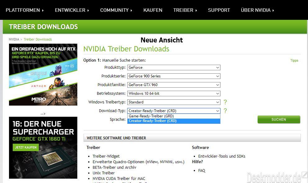 Nvidia erweitert nun die Auswahl der Grafiktreiber auf die CRD