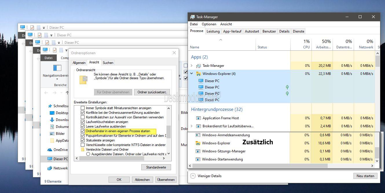Windows 10 1903 Datei Explorer öffnet nun Ordnerfenster