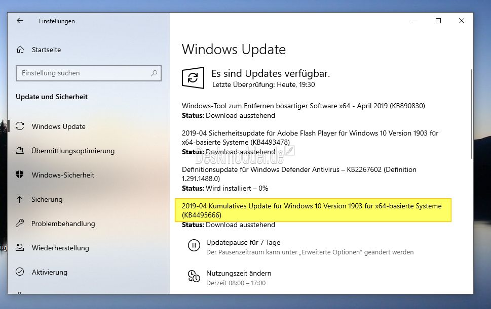 KB4495666 Windows 10 1903 18362 53 (Manueller Download) 9 April