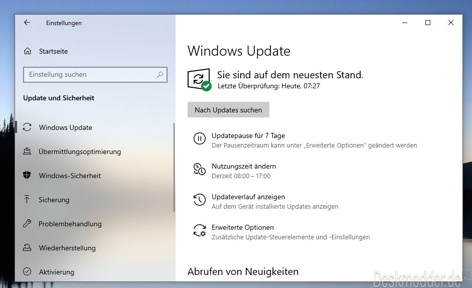 KB4496796 Windows 10 1903 18356 21 (Manueller Download) für den Slow
