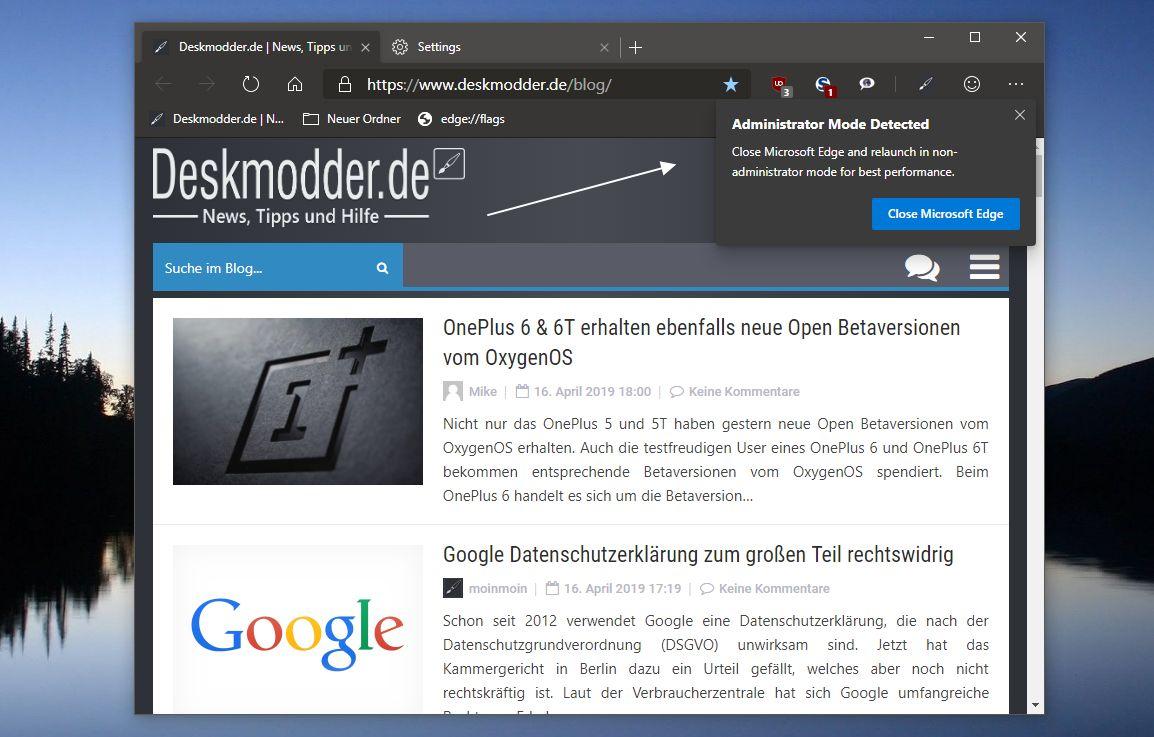 Microsoft Edge (Chromium) Administrator Modus erkannt - Ein