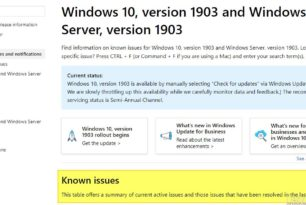 Probleme mit der Windows 10 1903 – Die Liste von Microsoft (auch mit Workarounds) ist nun online