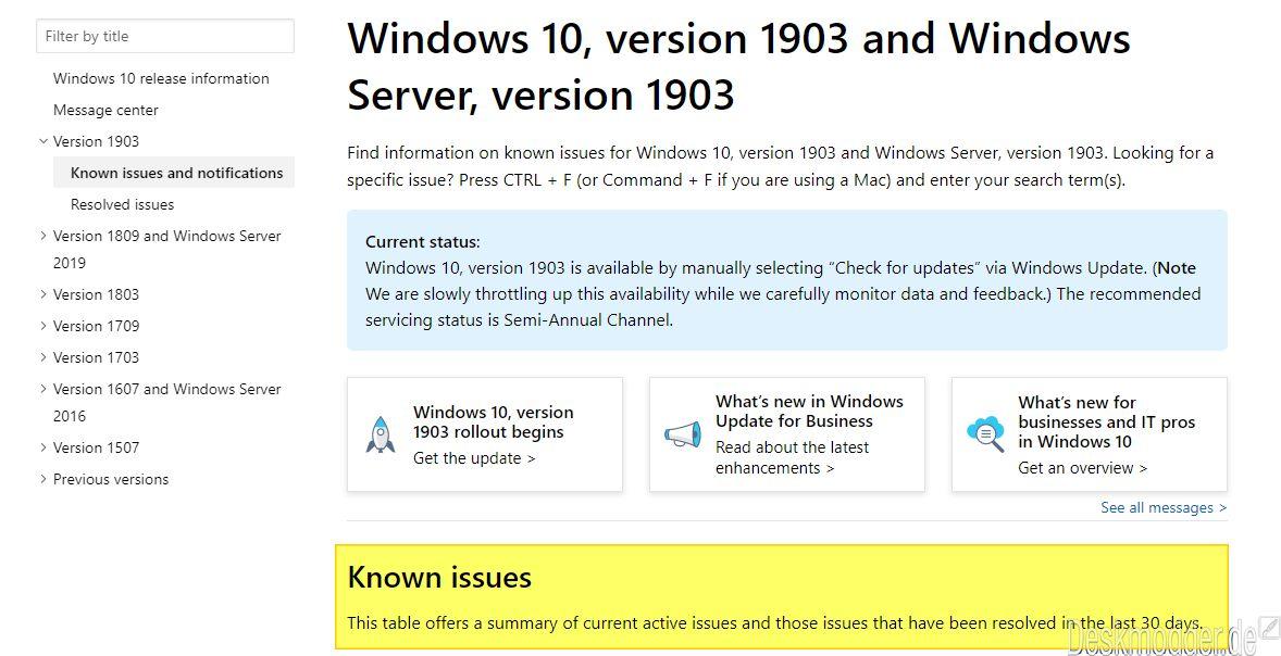 Probleme mit der Windows 10 1903 - Die Liste von Microsoft (auch mit