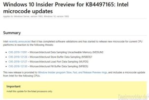 Neue Intel Microcode Updates für Windows 10 1903, 1703, 1607  (15.05.)