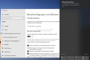 Benachrichtigungen verwalten direkt in der Windows 10 20H1 im Info Center aufrufen