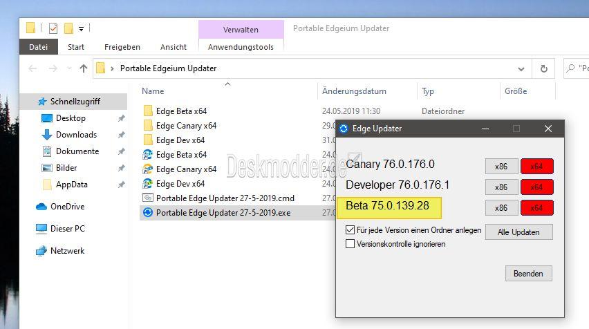 Microsoft Edge Dev 76 0 176 1 in deutsch und auch für MacOS