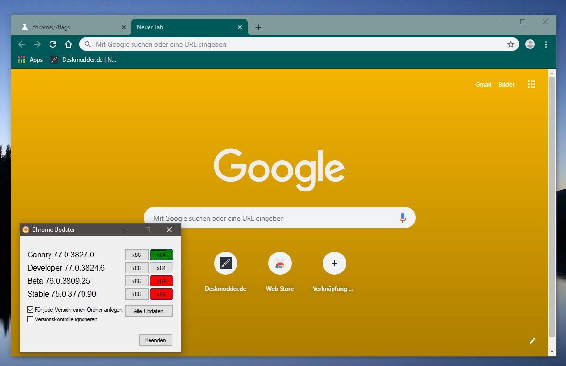 Chrome hintergrund app