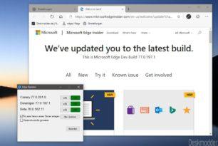 Microsoft Edge Dev 77.0.197.1 + Gruppenrichtlinien wurden aktualisiert