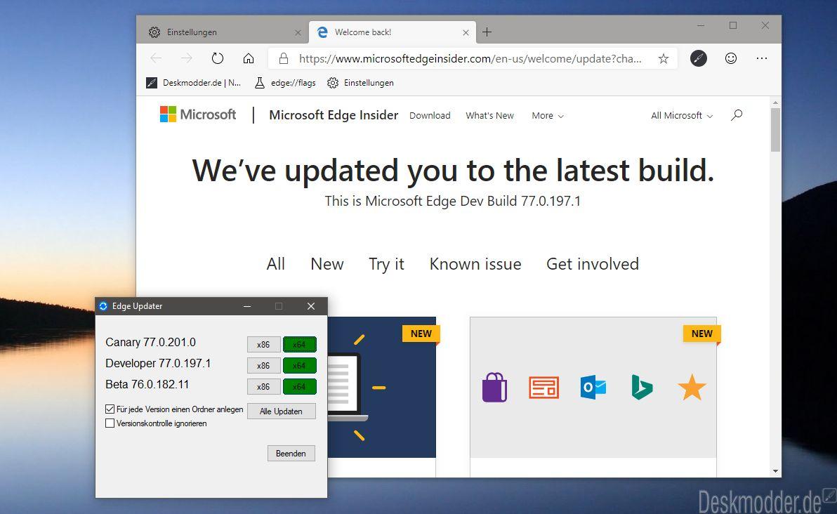 Microsoft Edge (Chromium) Dev Channel nun auch für Windows 7, 8 und