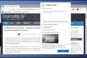 Microsoft Edge Feedback senden jetzt mit einem Screenshot Editor