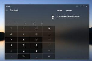 Rechner App unter Windows 10 mit lustigem Fehler