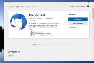 Thunderbird als App im Microsoft Store – Aber……