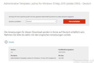 Administrative Templates (.admx) für Windows 10 1903 stehen zum Download bereit