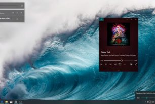 Windows 10 Lautstärke- / Mediensteuerung auf dem Desktop in zwei Varianten als Konzept