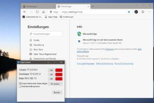 Microsoft Edge Dev 77.0.211.2 mit einer langen Changelog