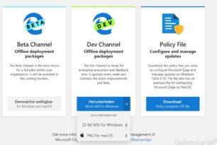 Microsoft Edge Enterprise als Offline Installer und mit ADMX Dateien