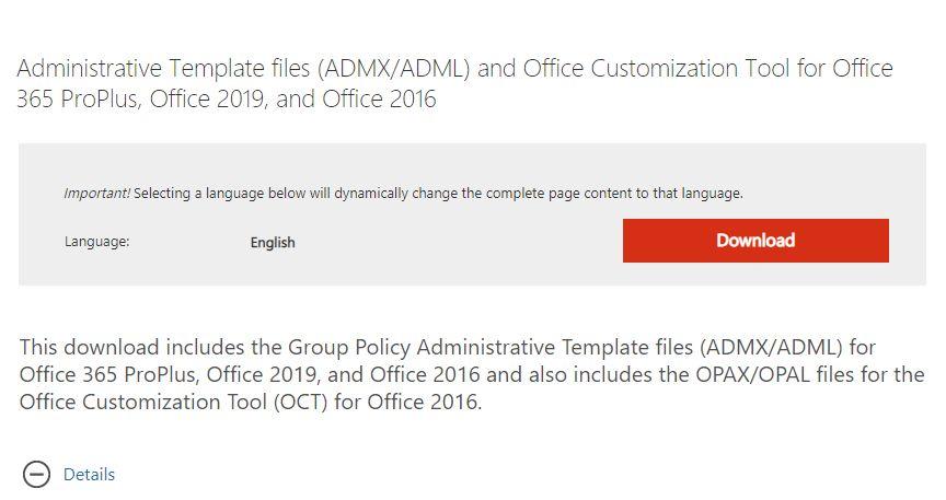 Administrative Template Dateien (ADMX / ADML) für Office 2016, 2019