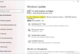Security Intelligence-Update für Windows Defender anstatt Definitionsupdate
