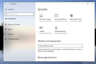 Spracheinstellungen übersichtlicher in den Einstellungen Windows 10 20H1