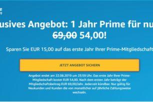 Amazon Prime für 1 Jahr nur 54 anstatt 69 Euro