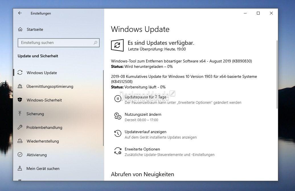 KB4512508 Windows 10 1903 18362 295 (Manueller Download