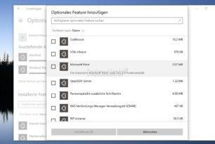 Windows 10 – Microsoft Paint, Wordpad, Windows Hello als optionale Features deinstallierbar / installierbar und Notepad als App
