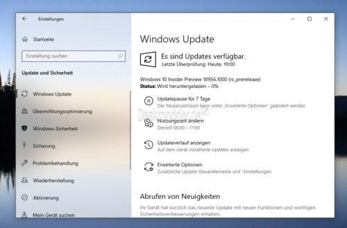 Windows 10 18956 steht für die Insider im Fast Ring und Skip Ahead