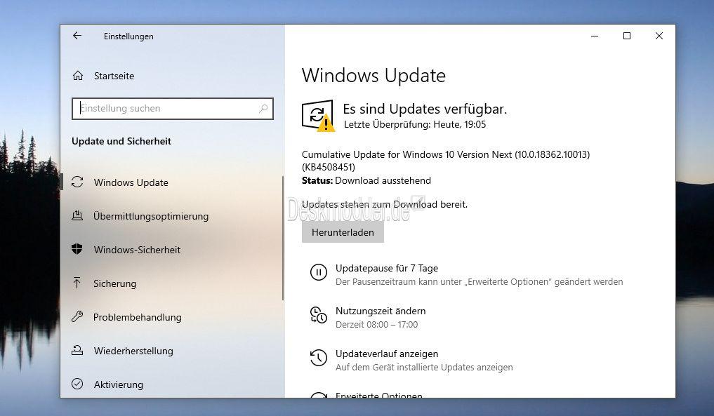 Windows 10 1909 18362 10012 und 18362 10013 (Manueller Download