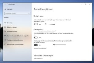 Windows 10 20H1 Automatische Programmstarts und Meine Anmeldeinfos wurden nun getrennt in den Einstellungen