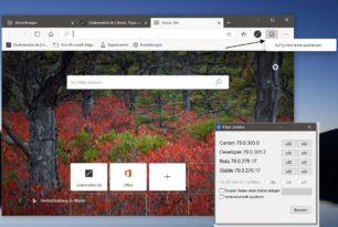 Microsoft Edge Dev 79.0.301.2 mit vielen Verbesserungen und Deaktivierung vom Smiley