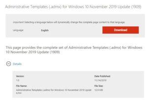 Administrative Templates (.admx) für Windows 10 1909 stehen zum Download bereit