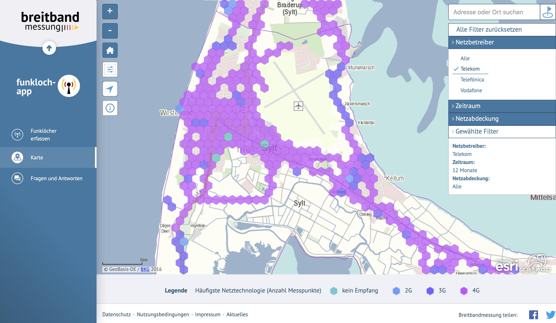 Funkloch-App: Karte mit Messergebnissen veröffentlicht