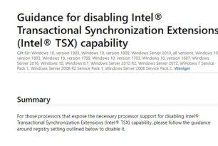 Deaktivieren der Intel Transactional Synchronization Extensions (TSX) in der Registry