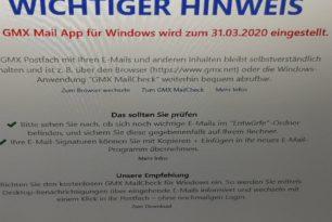 GMX Mail und WEB.DE Mail App für Windows 10 wird eingestellt
