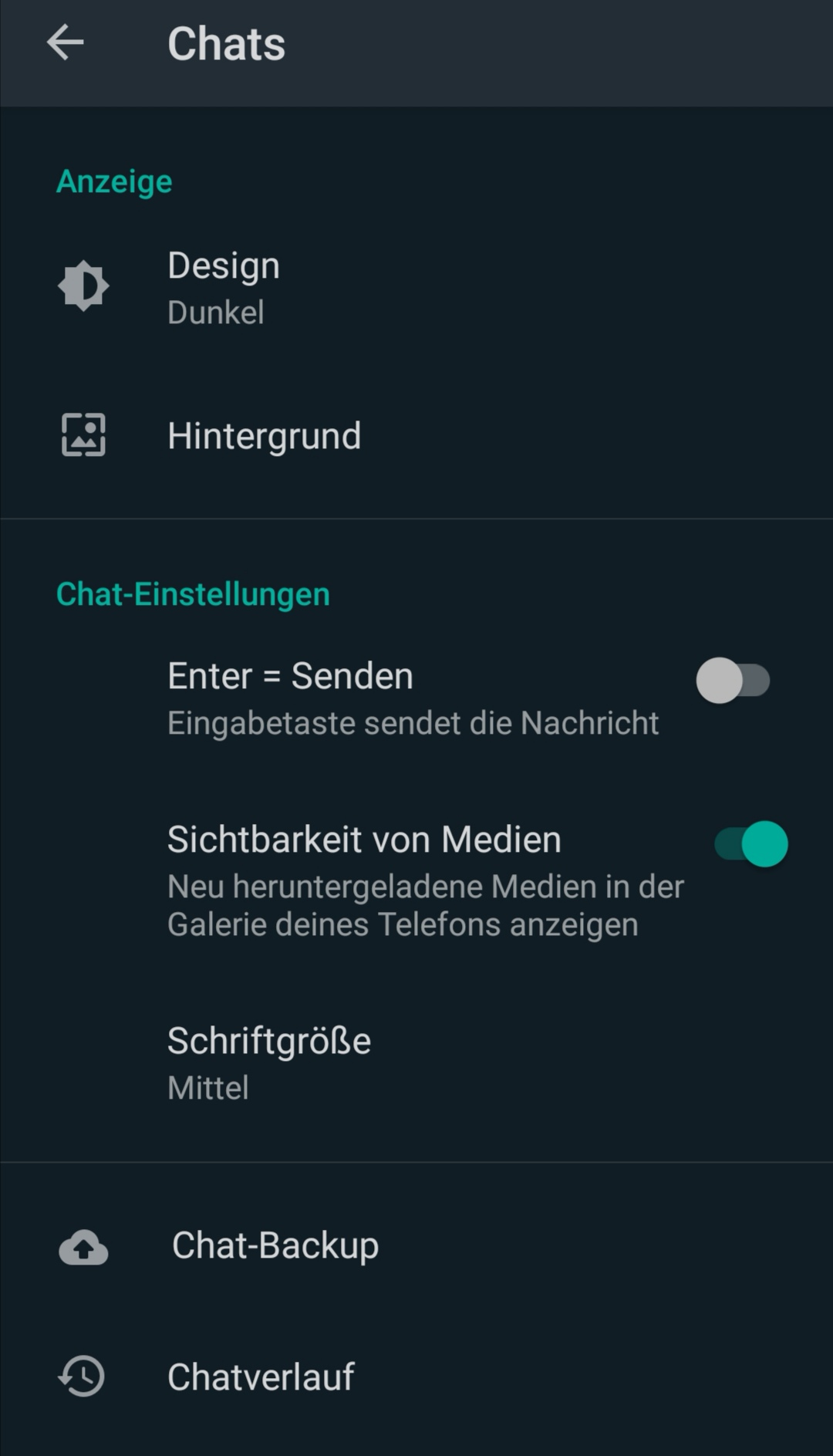 Dunkelmodus Android