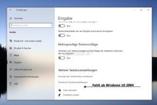 Swiftkey wurde ab Windows 10 2004 aus den Einstellungen entfernt