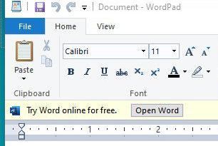 WordPad: Microsoft testet Hinweise auf Office Online