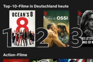 Netflix ab sofort mit Anzeige der Top-10-Listen
