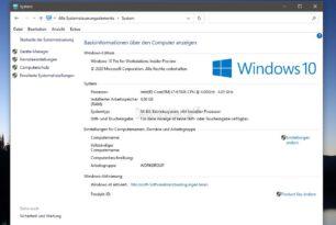 Windows 10 20H2 – Die Systemsteuerung wird weiter kastriert