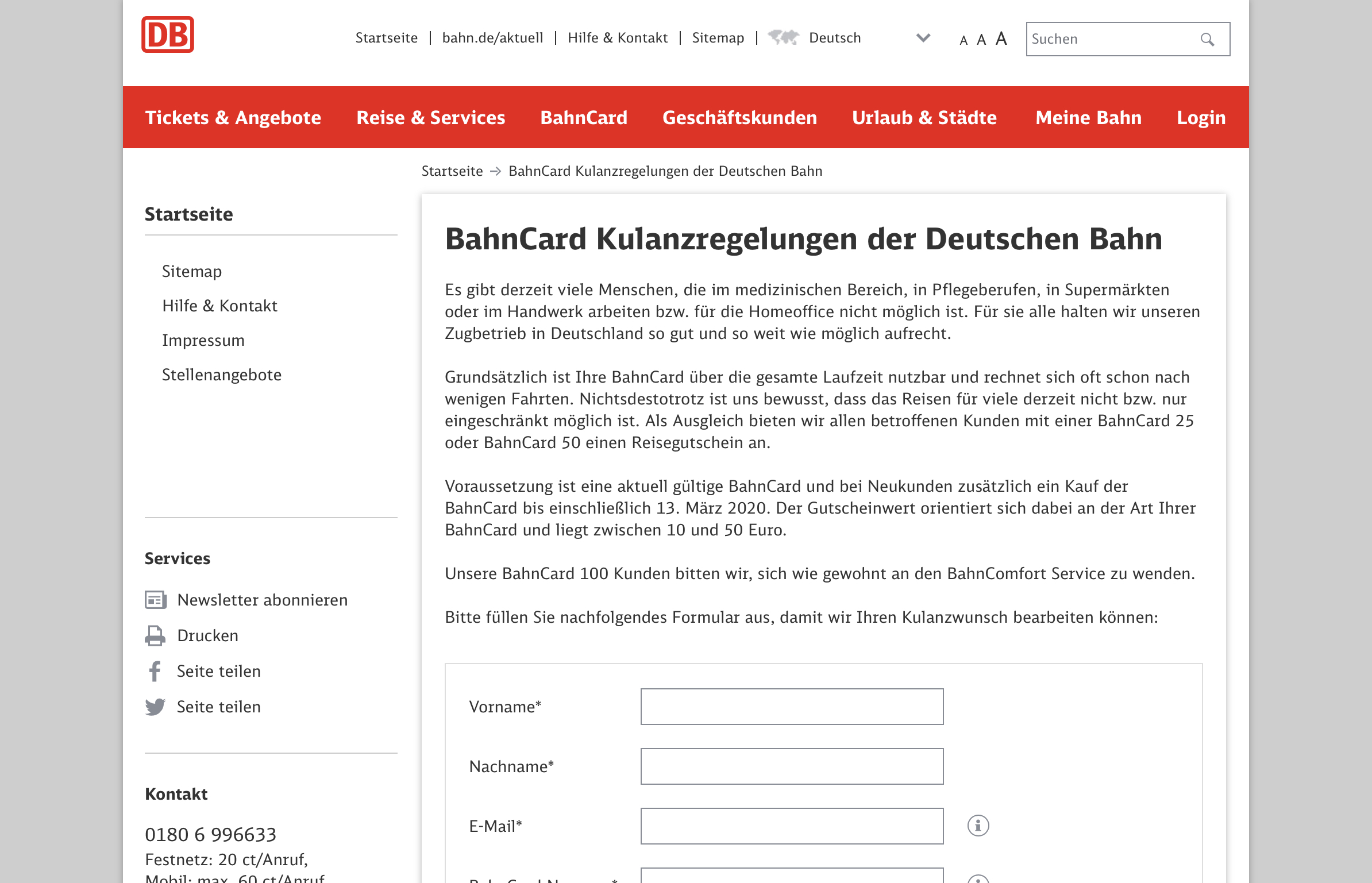Bahncard Kulanzregelung