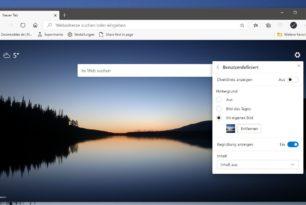 Microsoft Edge nun mit eigenem Hintergrundbild für die Startseite